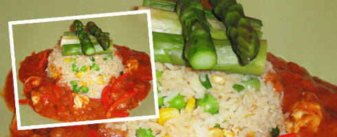 Home-made King Prawn Dhansak Curry served with sweetcorn fried rice