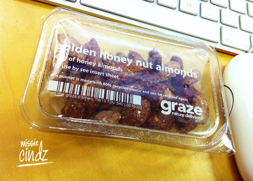 Golden honey nut almonds from Graze.com