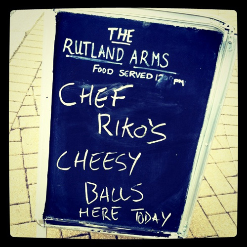 The Rutland Arms 'famous' outside food board, where is it now?