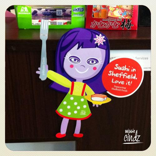 Missie Cindz hanging in Sheffield's Sushi Express - Milton St