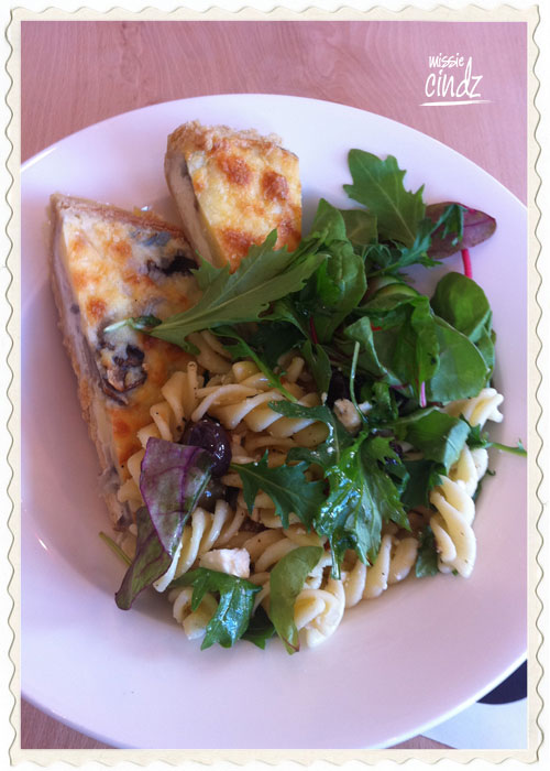 PJ Taste homemade Mushroom quiche with pasta salad