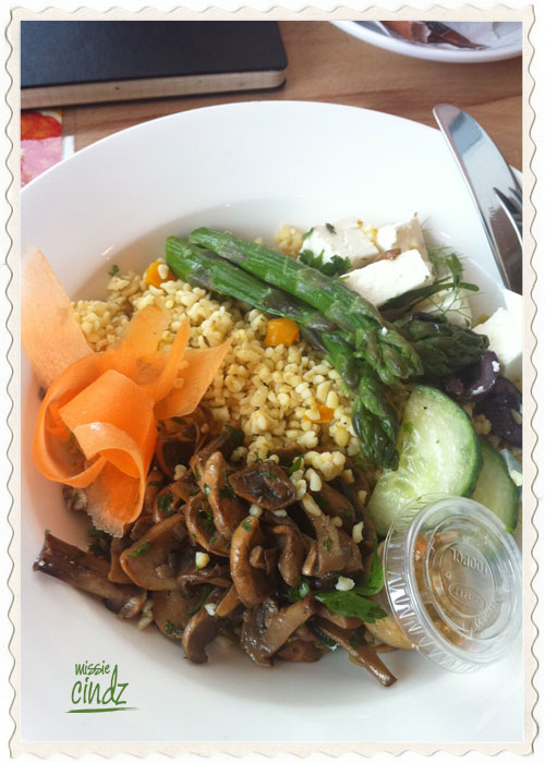 Bulgar wheat with Yorkshire asparagus, goats cheese and chinese mushrooms.