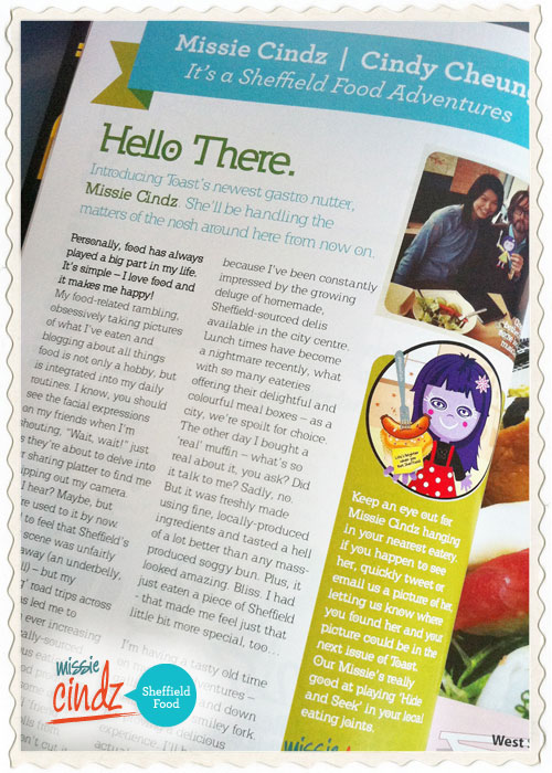 Missie Cindz - It's a Sheffield Food Adventure. Toast Magazine feature.