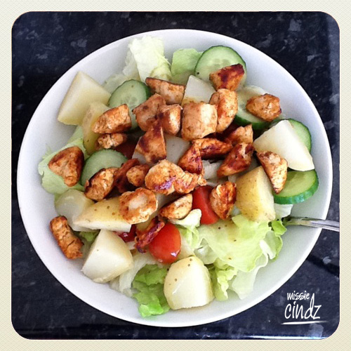 @hworsnop's Summer salad - shame there wasn't dressing on it. Pass me the mayo please!