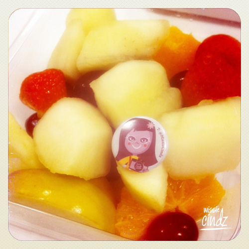 Liam's Missie fruit salad (nice name?) - I'm always fooding around in peoples food!