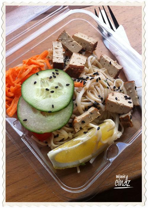 Day 3, Meal 8: PJ Taste Noodle Salad with Tofu, coriander and fresh salad leaves