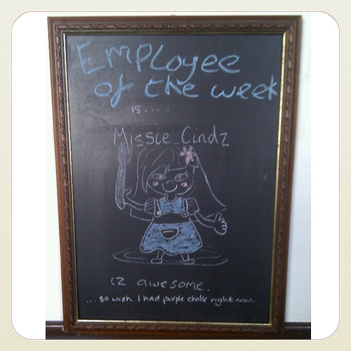 Guess who's the Rutalnd Arm's Employee of the Week? Yes. Missie Cindz. Great illustration skills guys :)