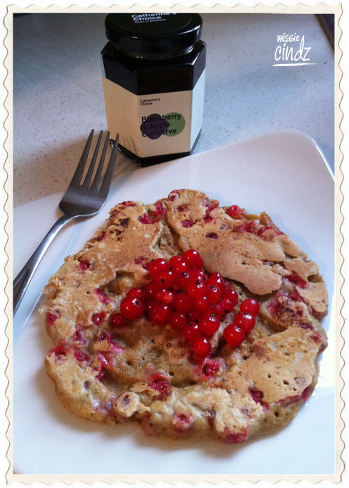 Redcurrant pancakes served with Catherine's Choice conserve