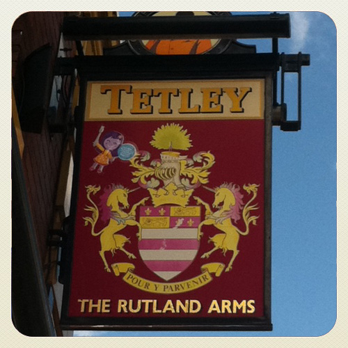 The Rutland Arms proudly displaying their Missie Cindz HIGH up there in the sky!
