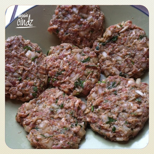 Homemade burgers using Moss Valley sausagemeat, or meat squeezed from 8 large Cumberland sausages