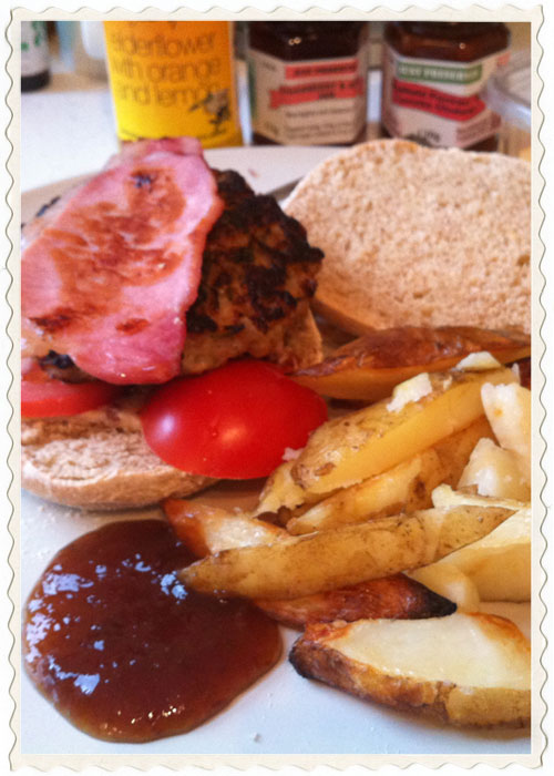 Homemade burgers using Moss Valley sausage meat, or meat squeezed from 8 large Cumberland sausages