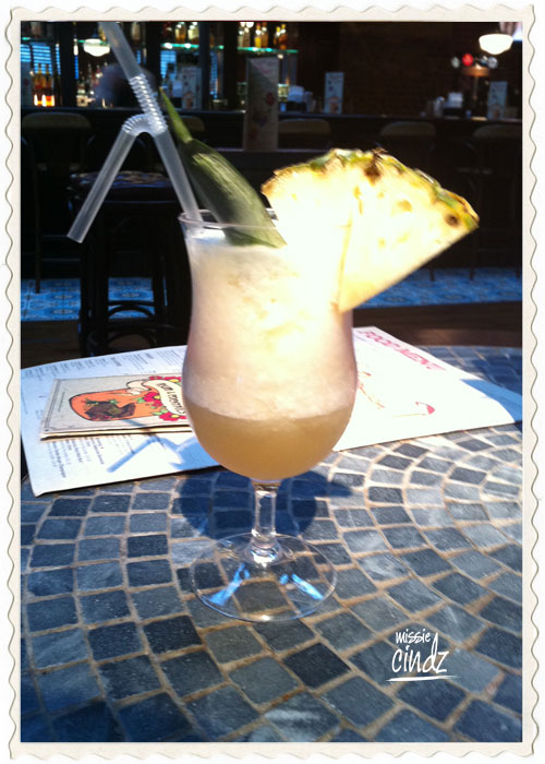 I start off with my favourite cocktail - a creamy Pina Colada
