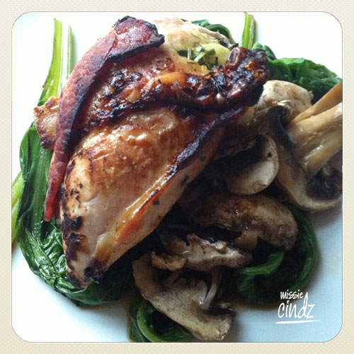 Day 7, Meal 21: Mustard stuffed chicken breast served with spinach and mushrooms