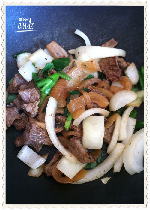 The making of my beef foo yung dish
