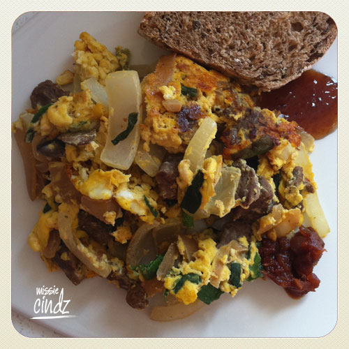 Beef from Whirlow Hall farm foo yung (a scrambled egg type dish but with a tasty twist!)