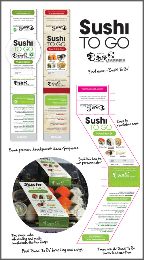 Sushi Express 'Sushi To Go' packaging developments – previous concepts