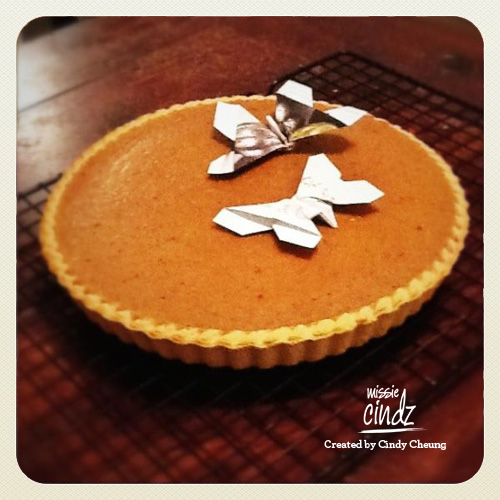 Mmm, homemade Pumpkin pie, just out of the oven, with origami butterflies from @beamoogaloo
