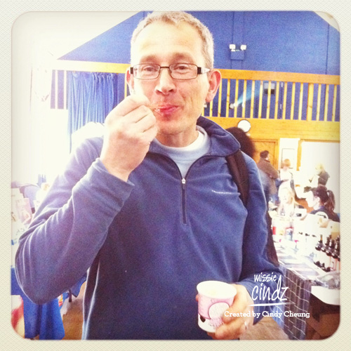 PJ taste scoffing a tub of Our Cow Molly ice cream