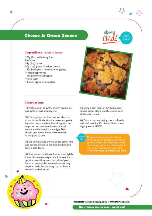 Click here to download my Festive Cheese and Onion Scones recipe – they're NOM!