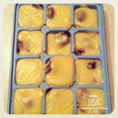 Step 2: add the cranberries and vanilla and mix well. Pour into the tin (or like me, ice cube trays) and refrigerate overnight.