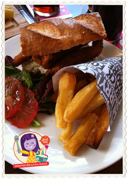 Sheffield's Rutland Arms 'Fishy fish finger butty' served with real chips!