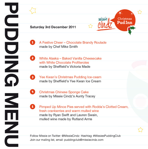 Missie Cindz Christmas Pud Inn Menu for Saturday 3rd December 2011