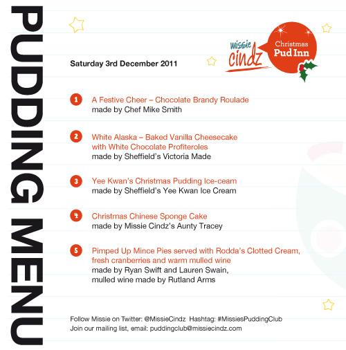 Missie Cindz Christmas Pud Inn Menu for Saturday 3rd December 2011