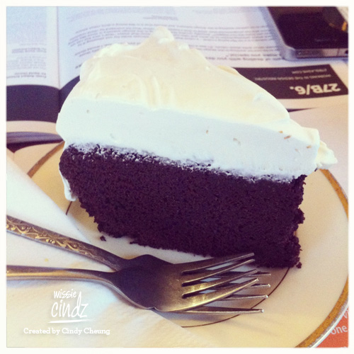 A nice slice of chocolate Guiness cake – huge slice with a thick layer of cream cheese frosting!
