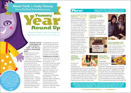 Missie Cindz yummy year round up in Sheffield's Toast Magazine
