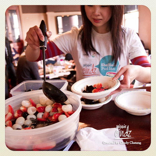 Summer Fruit Salad served with Grass Jelly in a Lychee and Strawberry Juice.