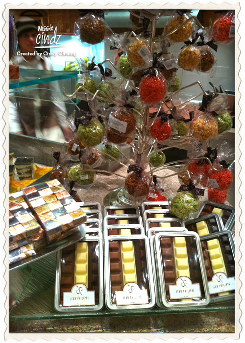 Chocolate covered cakepops and boxed chocolates at Jean Philippe Patisserie.