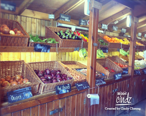 Excellent display of local fruit and veg at Blacker Hall Farm