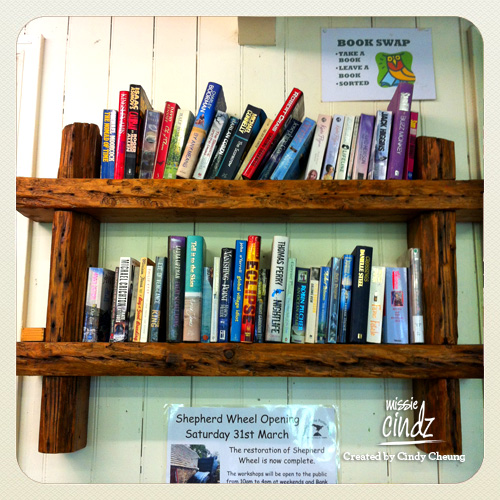 The cafe also offers a small 'book swap' section.
