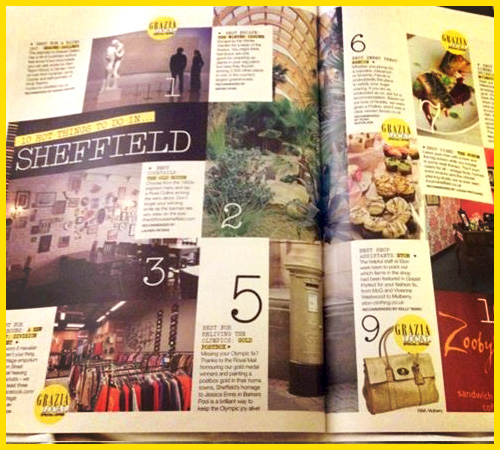 THANK YOU to Grazia for featuring us in the '10 hot things to do in Sheffield' article.