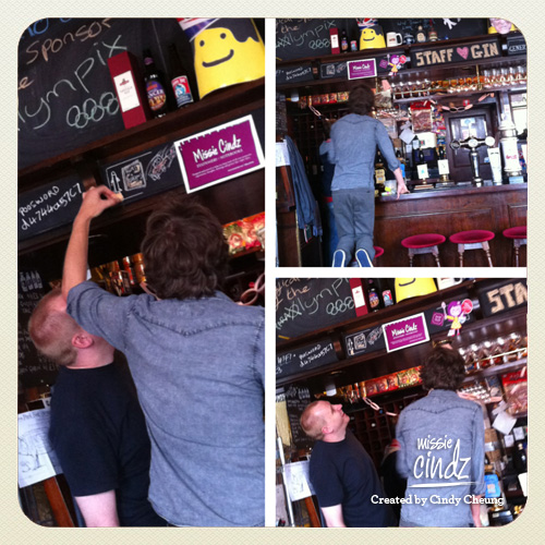 The Rutland's Josh dolling up my Missie Cindz stationery blackboard sign with a few illustrations :)