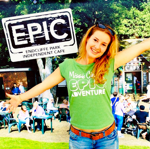 Lovely EPIC's Abbie on the food stall; she's got good taste in T-shirts too!