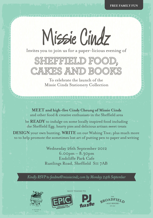 Missie Cindz's EPIC launch party in {Sheffield} invite