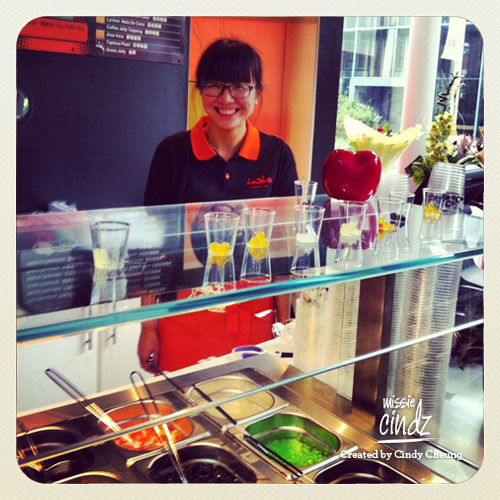 Nice happy staff serving me at LoL Bubble Tea, a new Taiwanese bubble tea cafe opened in Sheffield yesterday.