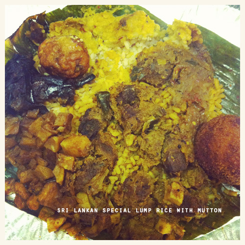 Main course: Sri Lankan Special Lump Rice with Mutton