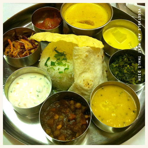Main Course: Vegetable and Meat Thali