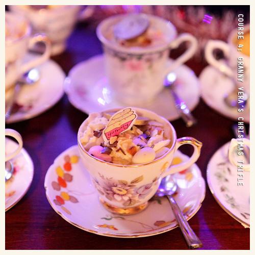 Next up was Course 4: Honey Pie Tearoom's Grandma Vera's Christmas Trifle