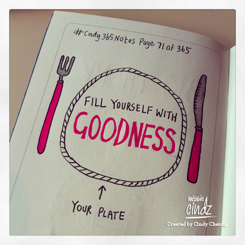 Taking a leaf out of my notebook (page 71 of 365): Filling myself with goodness.