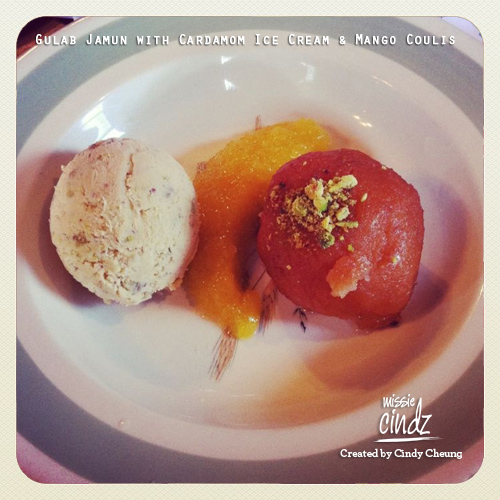 Course Five: Gulab Jamun (popular Pakistan dessert) served with Cardamom Ice Cream and Mango Coulis made by Rutland Arms Chef Koko and Rico