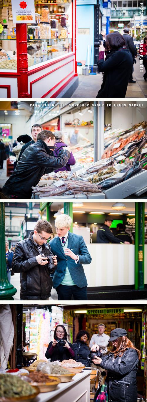Blog North 4, Paul taking his workshop group to Leeds Market