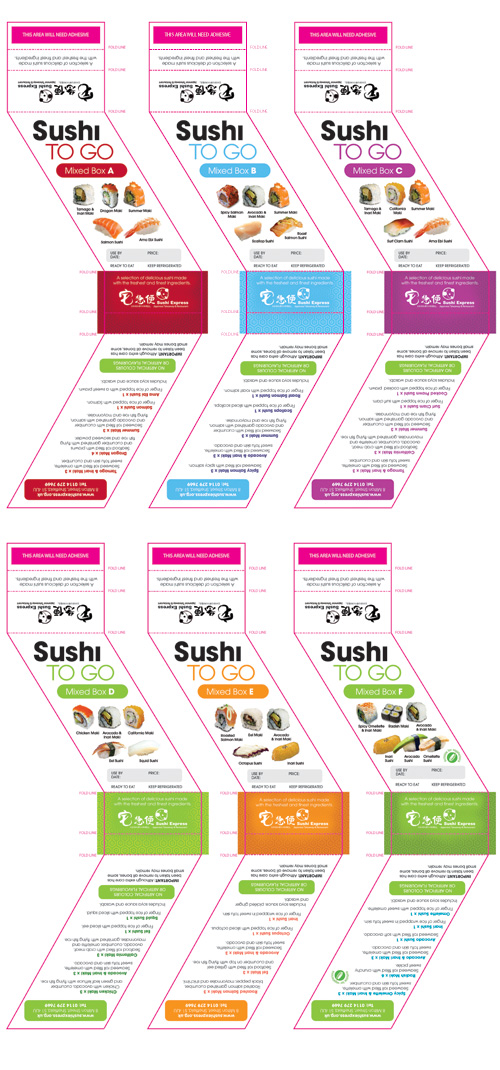 Sushi Express 'Sushi To Go' label designs