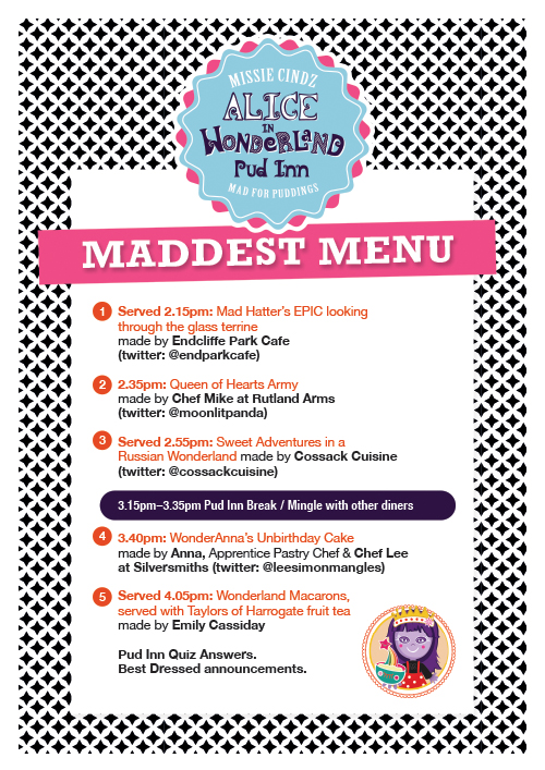 Alice in Wonderland Pud Inn Menu 2014